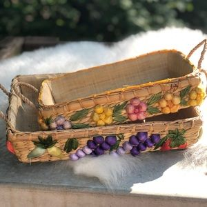 2 Vintage Pyrex grass/wicker casserole holder tray